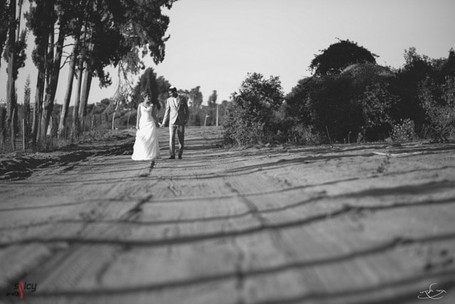 Picture of a bride and groom with shadows